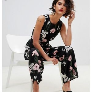 Warehouse Tiger Lily Sleeveless Wide Leg Jumpsuit